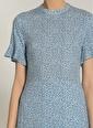 NGSTYLE Kadın Desenli Yırtmaç Elbise NGKSS20EL0172 Mavi
